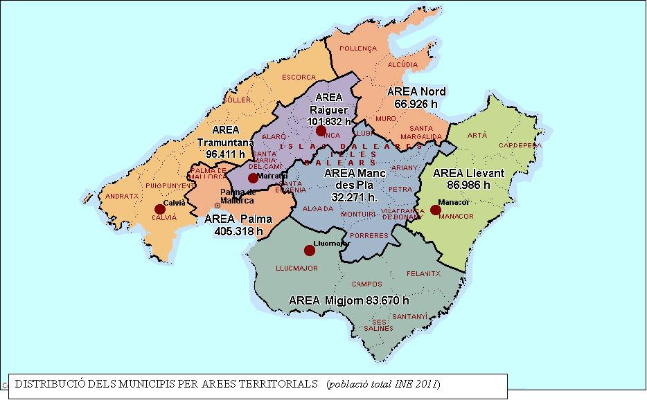 Mapa de las áreas territoriales/poblaciones